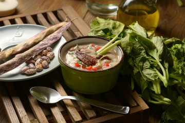bean soup and other vegetables with anchovies