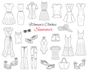 Women clothes collection. Vector sketch illustration.