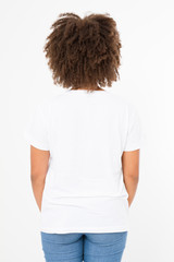 Summer t shirt design and people concept close up of young afro american woman in blank template white t-shirt. Mock up. Copy space. Curly hair. Back rear view.