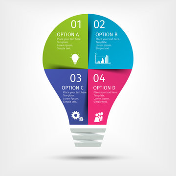 Modern colorful light bulb infographics. Business startup idea lamp concept with 4 options, parts, steps or processes. Template for presentation, chart, graph. Vector illustration.