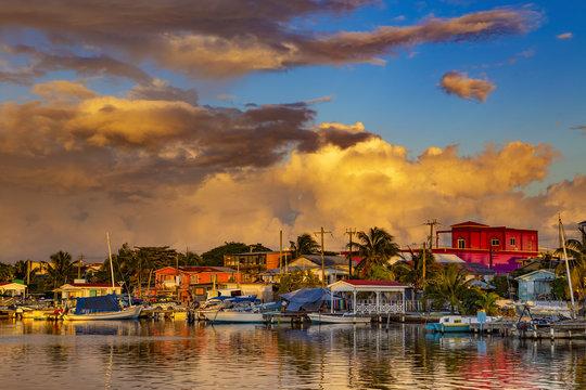 Belize. Sunset on San Pedro Town, Ambergris Caye Island
