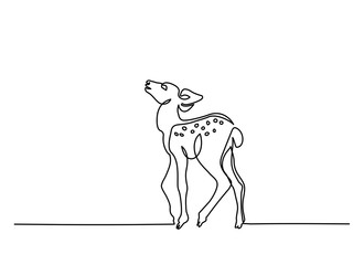 Continuous line drawing. Funny deer cub baby. Vector illustration. Concept for logo, card, banner, poster flyer