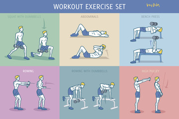 Workout Exercise Set Man