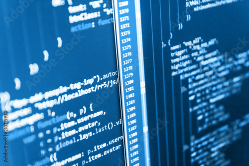Hacker api text on the computer screen  Software source code