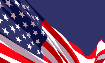 Background with waving american flag on dark blue background.Vector template for USA patriotic holidays celebration Independence Day, Patriot Day, Veterans Day, President Day.