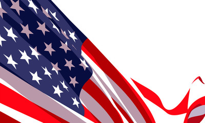 Background with waving american flag on white background.Vector template for USA patriotic holidays celebration Independence Day, Patriot Day, Veterans Day, President Day.