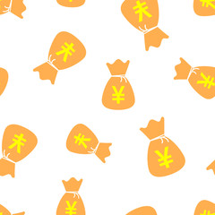 Yen, yuan bag money currency icon seamless pattern background. Business concept vector illustration. Asia money symbol pattern.