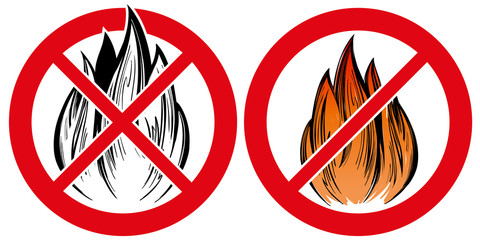 prohibiting sign, no fire emblem hand drawn vector illustration realistic sketch