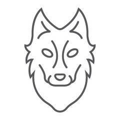 Wolf thin line icon, animal and zoo, dog sign vector graphics, a linear pattern on a white background, eps 10.