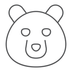 Bear thin line icon, animal and zoo, grizzly sign vector graphics, a linear pattern on a white background, eps 10.