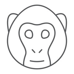 Monkey thin line icon, animal and zoo, simian sign vector graphics, a linear pattern on a white background, eps 10.