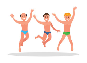 Three young men jump on a white background.