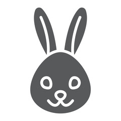 Rabbit glyph icon, animal and zoo, bunny sign vector graphics, a solid pattern on a white background, eps 10.