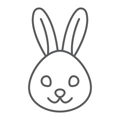 Rabbit thin line icon, animal and zoo, bunny sign vector graphics, a linear pattern on a white background, eps 10.