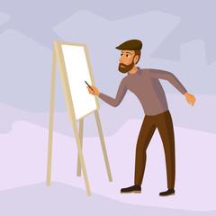 artist drawing at easel, cartoon illustration