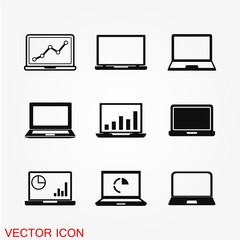 Laptop Icon in trendy flat style isolated on background