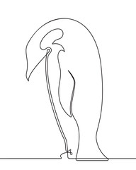 Photo on textile frame One Line Art Penguin Continuous Line Drawing 2