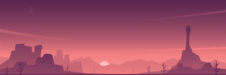 Desert and Beautiful Sky Scene