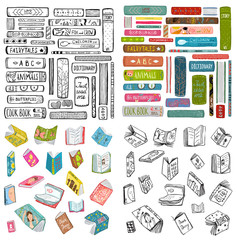 Books outline and colored naive style hand drawn bundle. Vector design.