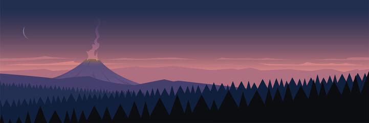 Active Volcano Landscape Scene