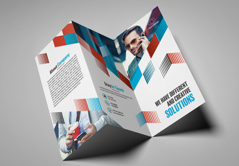 Trifold Brochure Layout with Line Pattern Element