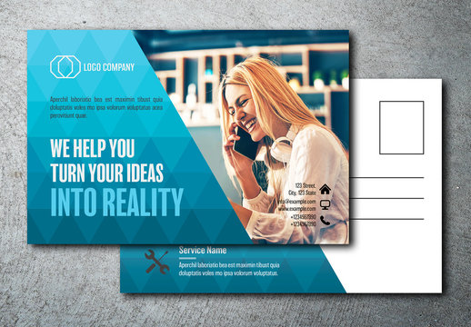 Postcard Layout with Blue Triangular Pattern