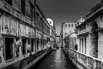 Venice, Italy. Some streets look sad . Black and white