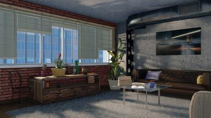 Modern minimalist living room interior in loft apartment with big window, brickwork, concrete wall and metal ventilation stack. 3D design illustration.