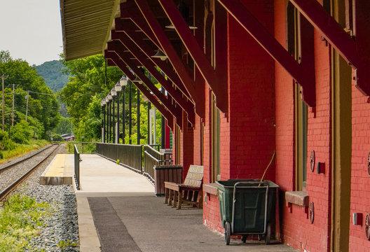 historic red brick train depot