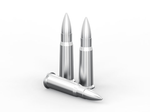 3D illustration three silver chrome bullet cartridge