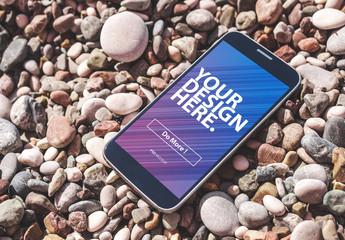 Smartphone on Rocks Mockup