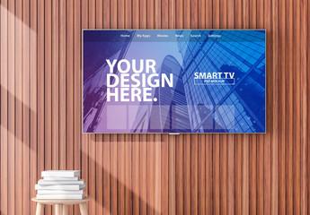 Smart TV Hanging on Wood Paneling Mockup