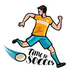 Soccer player runs with the ball. Sport concept. Cartoon vector illustration
