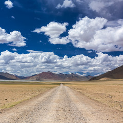 Road to Tso Kar lake situated in the Rupshu Plateau in Ladakh, India