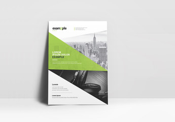 Business Flyer Layout with Green Geometric Element