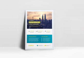 Business Flyer Layout with Green and Teal Accents