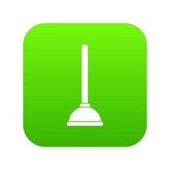 Toilet plunger icon digital green for any design isolated on white vector illustration