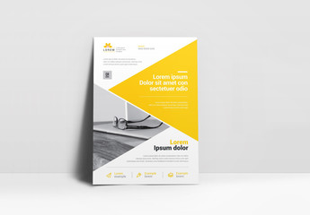 Business Flyer Layout with Yellow Triangle Element