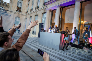 DJ Kiddy Smile and dancers perform during the 'Fete de la Musique', the music day celebration in the courtyard of the Elysee presidential Palace, in Paris
