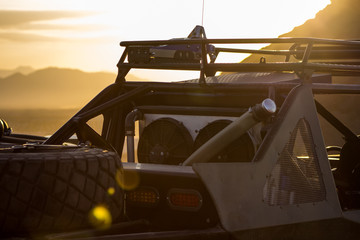 A Parked Off-Road Buggy At Sunset In Baja Mexico