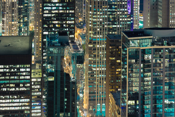 Tightly Packed Urban Skyscrapers In Chicago At Night