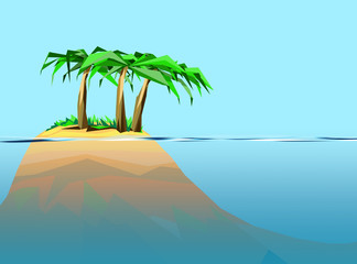 Summertime graphic with beautiful island and deep sea on the right side