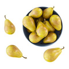 Pears in a blue vase and on the floor view from above on a white background