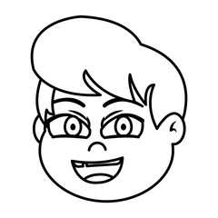 line happy boy head with hairstyle without tooth