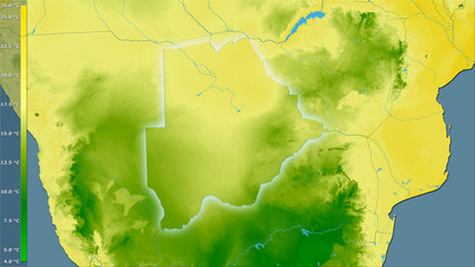 Botswana, mean temperature of driest quarter - light glow