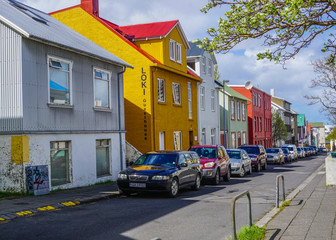 Colourful houses in the center of Reykjavik