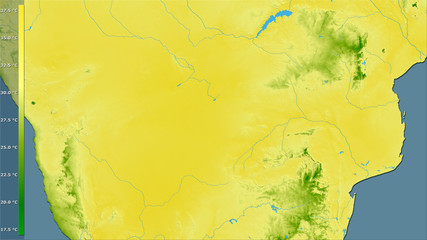 Botswana, max temperature of warmest month - raw data