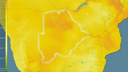 Botswana, mean temperature of warmest quarter - light glow