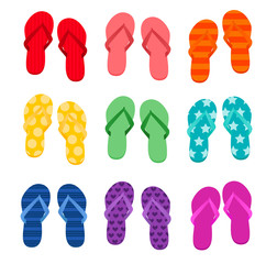 Vector illustration of nine different pairs of colorful flip flops