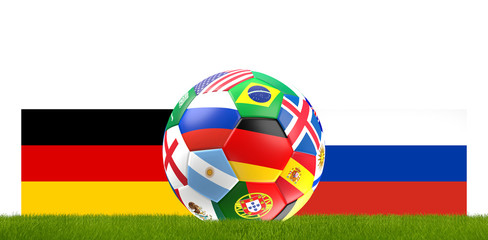 Germany Russia soccer football ball 3D Illustration